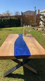 Bespoke Oak resin river table