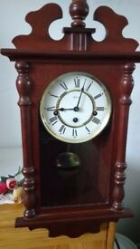 Vintage Hermle Chiming Wall Clock in Mahogany Case