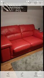 Red italian leather 2 seater sofa