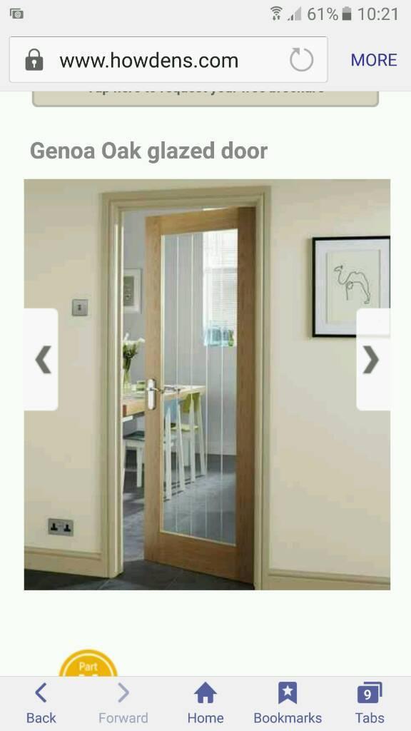 Brand New Howdens Genoa Oak Glazed Door In Inverurie
