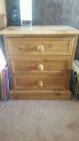 Hand made Antique Pine Bedside Drawer x 2