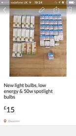 New, 45 no. boxed various light bulbs, 50w spotlight bulbs & low energy bulbs