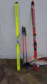 Skis, poles and bag
