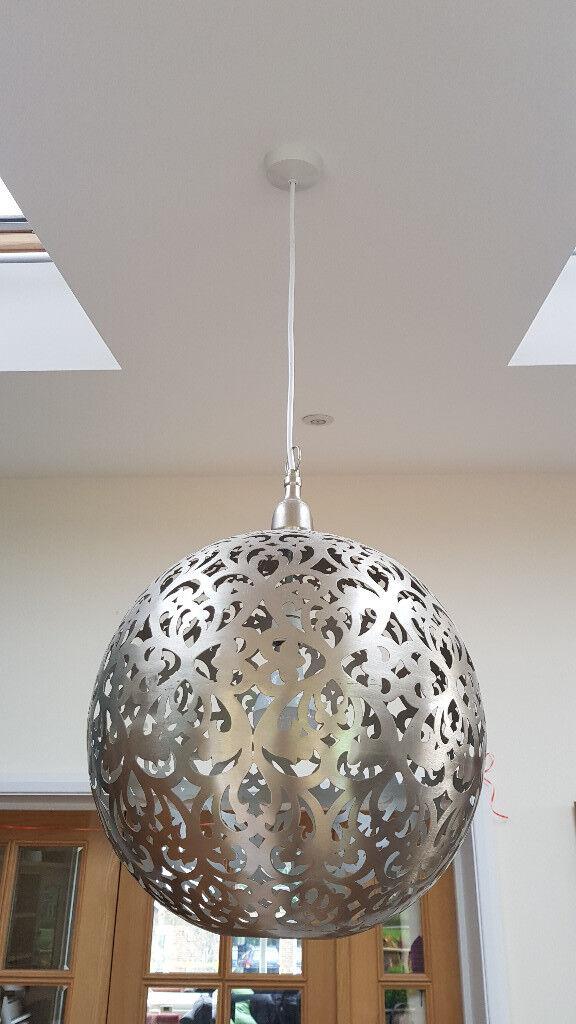 40cm Morroccan style globe pendant light fitting