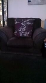 One chair dk grey slightly striped fabric . Vgc