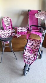 Mamas & Papas buggy, cot, high chair, bouncy chair, sun shade and changing bag - EXCELLENT