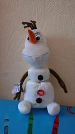 Talking and stretch disney olaf with tag attached, can post etc