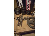 70 odd kg weights dumbells and barbells and bench