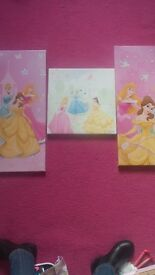 3 lovely disney princess canvases. Perfect for a little princess room. Collection only please