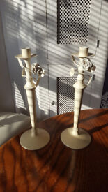 Wedding Party Themed Candlestick Holder Candelabra Victorian Shabby Chic Vintage Cream Rose Flowers