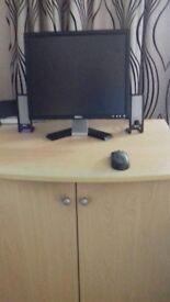 Dell PC Computer. Includes monitor, printer, speakers, camera, microphone and desk.