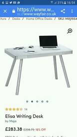 Table/desk White 6mm safety glass top with aluminium frame