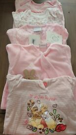 5 x Baby Girl sleeps suit bundle, 0-3 months, 2 new with tags on still