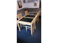 BEAUTIFUL DINING TABLE SOLID WOOD WITH 3 BLACK MARBLE INSERTS AND 4 CHAIRS SIZE BELOW £149.99 OBO
