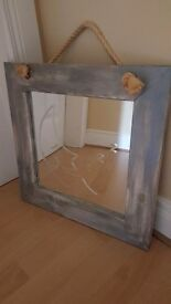 Mirror with beach washed look wooden frame