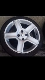 """17"""" alloy wheel and 205 20 17 tyre Peugeot"""