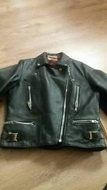 Wolf leather fringed ladies biker jacket (size 12)