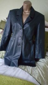 EDUARDO REAL LEATHER ITALIAN FITTED BLACK BUTTON UP LADIES COAT Sz 10