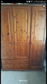 3door pine wardrobe with 2 bedside draws each with 3 draws and 6 draw chester draws