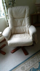 bonded leather reclining swivel chair