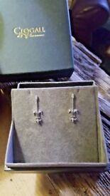 Clogau 9ct White Welsh Gold and Diamond Royal Lily Earrings RRP £570.00