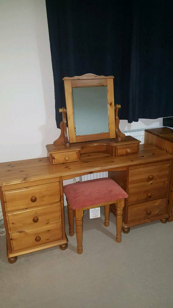 Mirrored Vanity Table And Stool: Large Solid Pine Dressing Table With Stool And Mirror