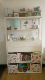 Shelf unit with drawers, ikea Fjälkinge range. White metal frame.