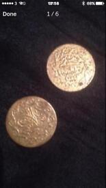 Turk ottoman gold plated coins x2 mehmudiye