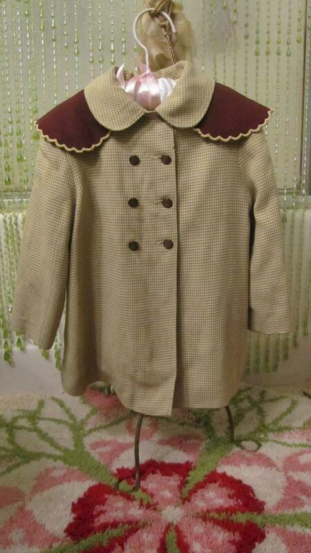 VINTAGE 1940S YELLOW & GRAY LITTLE GIRLS GABARDINE COAT & BONNET TODDLER