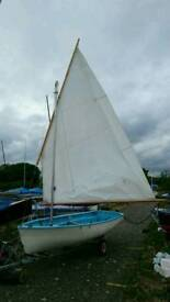 Scow rigged Otter dinghy. 12ft