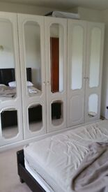 Fitted wardrobes, 7 units, large white, solid wood with mirrors