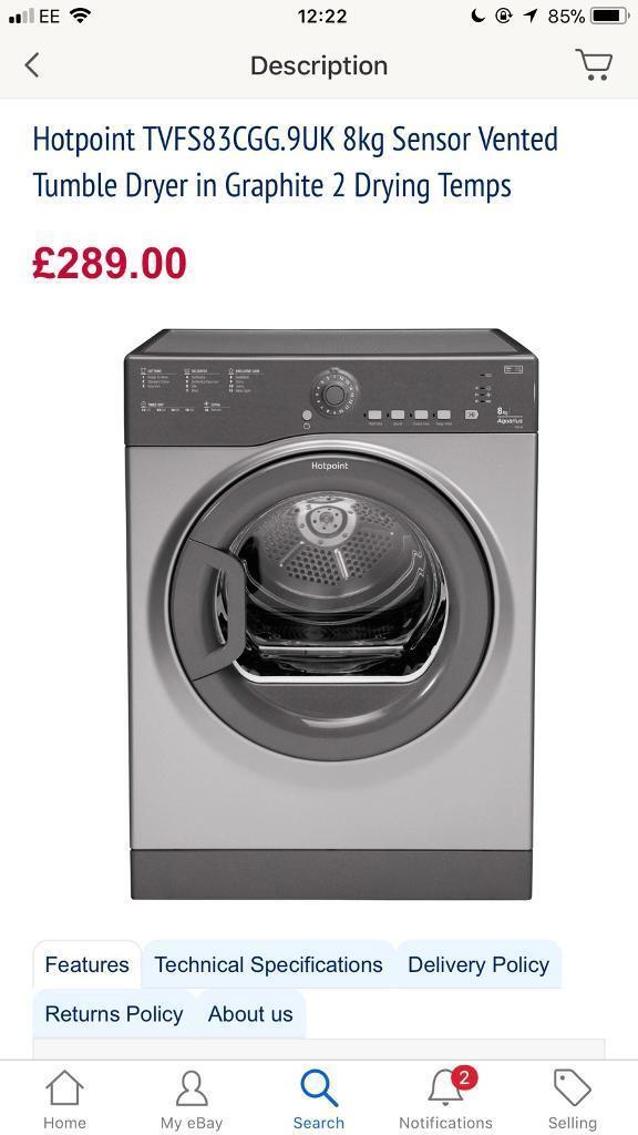 Brand New Hotpoint TVFS83CGG.9UK 8kg Sensor Vented Tumble Dryer in Graphite
