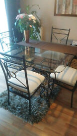 Table v.good condition - Quality Glass / Metal + 4 chairs + 2 coffee tables (all as a one set)