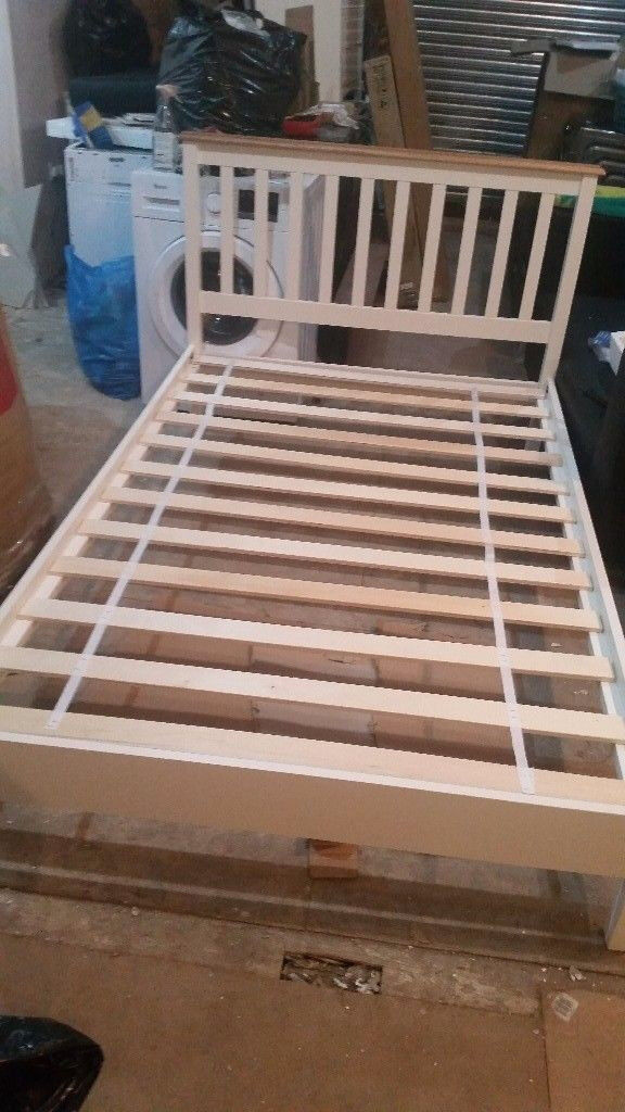 Double bed wood with mattress new order in white