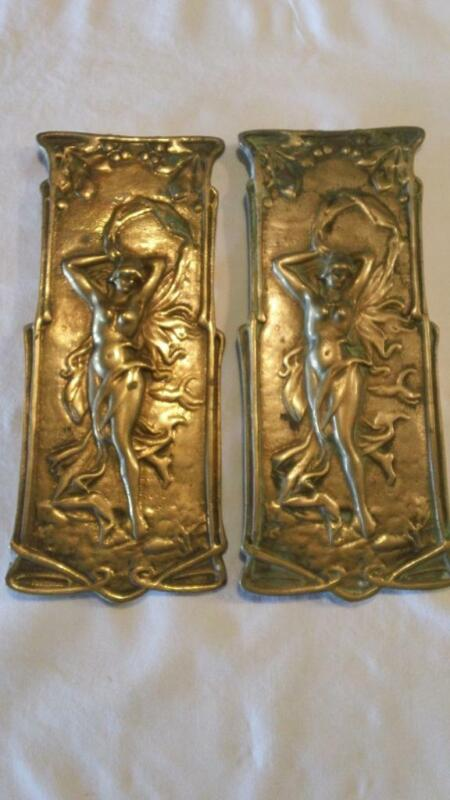 Two Art Nouveau Brass Wall Plaques of a Nude - FREE SHIPPING