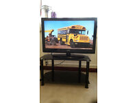 """32"""" HD READY LCD/DVD TV WITH GLASS TV STAND"""