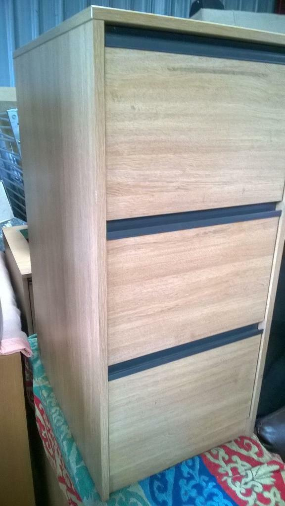 3 drawer pine filling cabinet