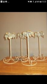 Beautiful cream french style metal candle holders