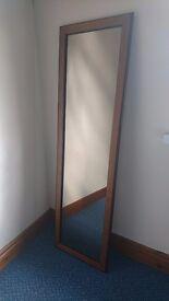 MIRROR Lovely full length mirror wooden veneer frame.