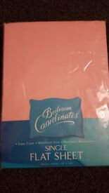 NEW single flat sheet pink