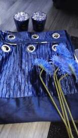 Blue living room accessories and curtains