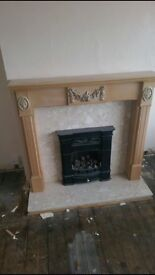 Wood fire place half and gas fire