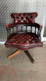Stunning leather chesterfield Captains chair £250