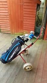 Titleist Pull Trolley, Dunlop golf bag and full set Dunlop 13 pcs golf clubs