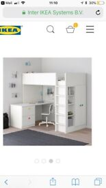 Ikea STUVA loft bed. Blue drawer fronts and wardrobe doors.