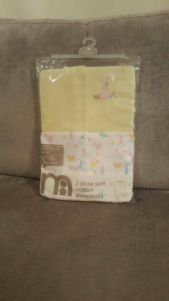 Mothercare 2 pure soft cotton sleepsuits age 3- 6 months