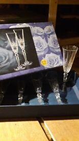 Box of six crystal champagne flutes