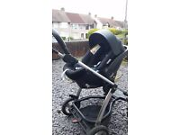 Mamas and papas sola 2 mtx pushchair with car seat.