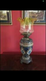 Antique Victorian Hicks No2 Duplex Ornate Ceramic Base Yellow Shade with Funnel Oil Lamp