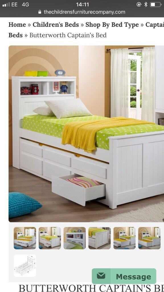 Child's bed with trundle and storage